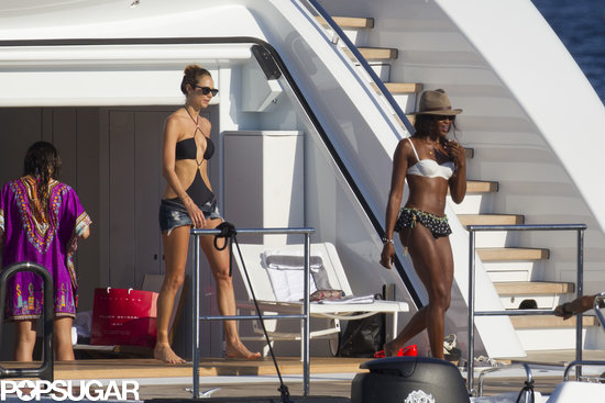 Naomi Campbell and Stacy Keibler at Ibiza