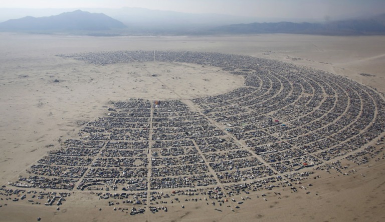 An aerial view of the Burning Man 2013